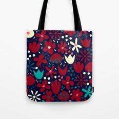 Red & cream Flowers Tote Bag