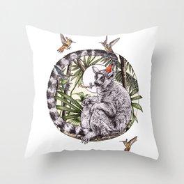 Party Lemur Throw Pillow