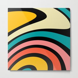 Retro, Colorful, Abstract, Rainbow, Pattern Metal Print