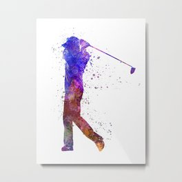 man golfer swing silhouette 01 Metal Print