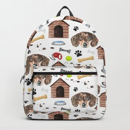 Dachshund Face Half Drop Repeat Pattern Backpack
