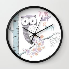 Think Happy Owl Wall Clock