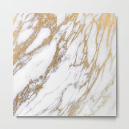 Elegant Creamy White Marble With Luscious Gold Veins Metal Print