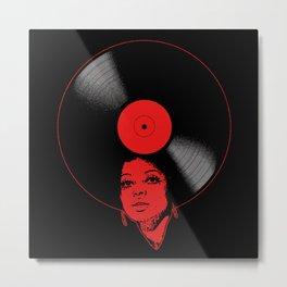 Afrovinyl (Red) Metal Print