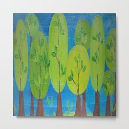 Green Trees Whimsical Folk Art Metal Print