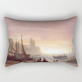 The Fishing Fleet 1862 By Albert Bierstadt | Reproduction Painting Rectangular Pillow