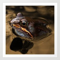 kermit Art Prints featuring Bronze Kermit by Rob Hawkins Photography
