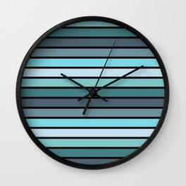 Multicolored Stripes: Shades of Blue Wall Clock