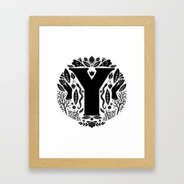 Letter Y monogram wildwood Framed Art Print
