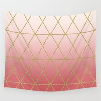 rose gold Wall Tapestries featuring Rose Gold Geometric by Leah Flores
