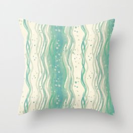 Gentle stream pattern - beige on sea green and cadet blue Throw Pillow