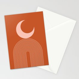 Geometric Lines in Terracotta Rose Gold 16 (Rainbow and Moon Abstraction) Stationery Cards