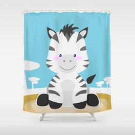 Zebra in the savannah Shower Curtain
