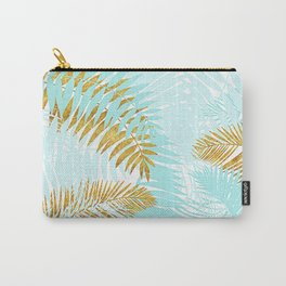 Aloha - Tropical Palm Leaves and Gold Metal Foil Leaf Garden Carry-All Pouch