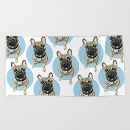 French Bulldog blue spot. Beach Towel