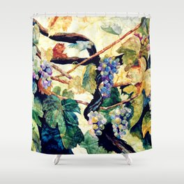 Watercolor Grapevine on Wrinkled Paper Shower Curtain