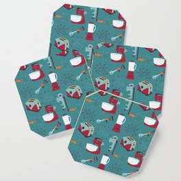 Retro Kitchen - Teal and Raspberry Coaster