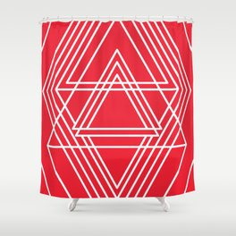Expanse - Red and White Shower Curtain