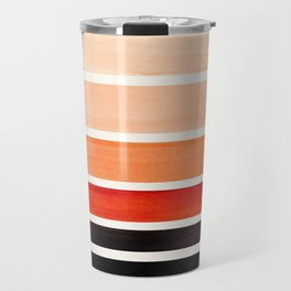 Burnt Sienna Minimalist Mid Century Modern Color Fields Ombre Watercolor Staggered Squares Travel Mug