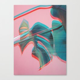 Glitch Monstera Theme Canvas Print