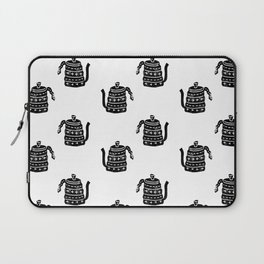 Kettle linocut black and white kitchen appliance coffee and tea water ketle Laptop Sleeve