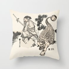 Old Man & Ankylosaurus Throw Pillow