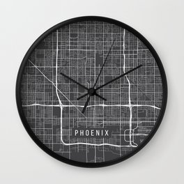 Phoenix Map, USA - Gray Wall Clock