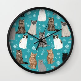 Cat breeds snowflakes winter cuddles with kittens cat lover essential cat gifts Wall Clock