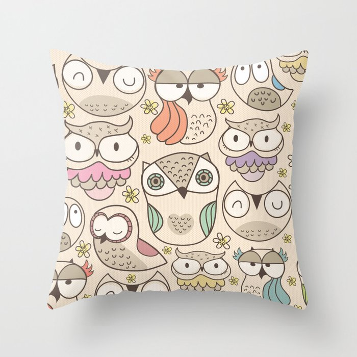The owling Throw Pillow