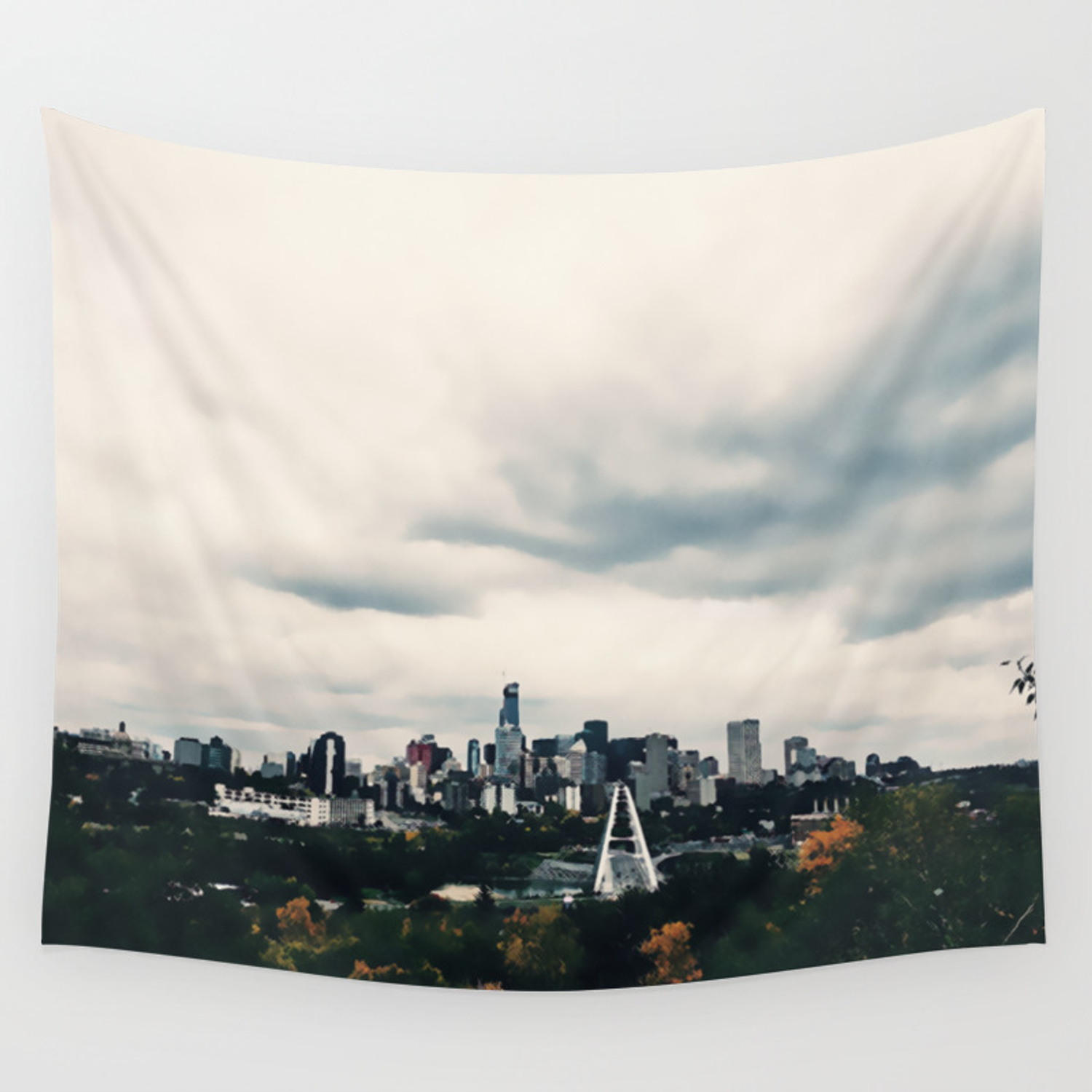 Edmonton Alberta Digital Painting Of A Very Cloudy Downtown Just Before An Autumnal Storm Wall Tapestry