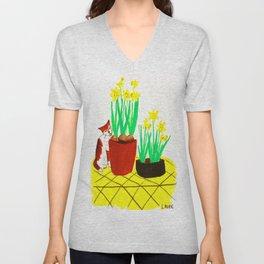Potted Daffodils Unisex V-Neck