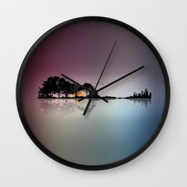 Musical Island - Guitar Shaped tropical Island Sunset & Cityscape Wall Clock
