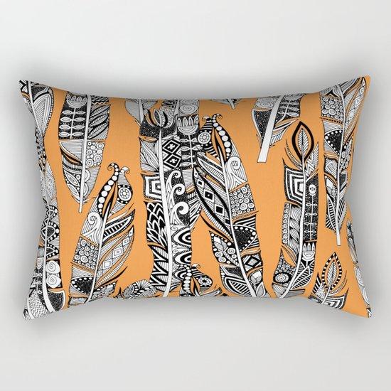 geo feathers orange Rectangular Pillow