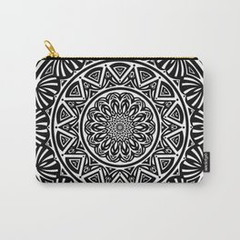 Black and White Simple Simplistic Mandala Design Ethnic Tribal Pattern Carry-All Pouch