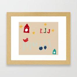 Holiday bird beige Framed Art Print