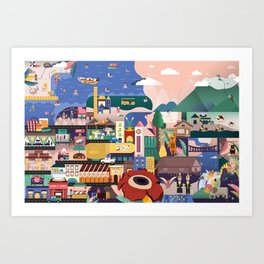 Kota Kinabalu Map Illustration Art Print
