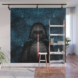 Darth Vader with Lightsaber in Galaxy Wall Mural