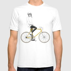 The Yellow Bike White Mens Fitted Tee LARGE