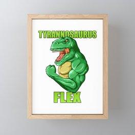 Tyrannosaurus Flex - Fitness T Rex Gym Dinosaur Framed Mini Art Print