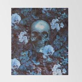 Skull and Flowers Throw Blanket
