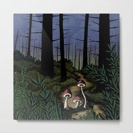 Forest Fungi green Metal Print