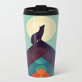 Howling Wild Wolf Metal Travel Mug