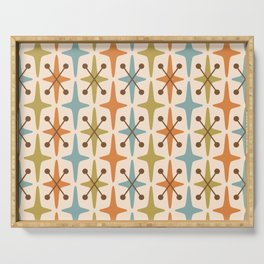 Mid Century Modern Abstract Star Pattern 441 Orange Brown Blue Olive Serving Tray