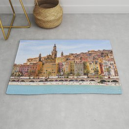 Old village of Menton French Riviera in summer Rug