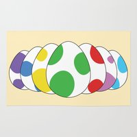 yoshi Area & Throw Rugs featuring Yoshi eggs by Joe Love