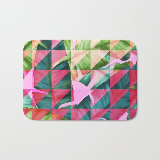Abstract Hot Pink Banana Leaves Design Bath Mat
