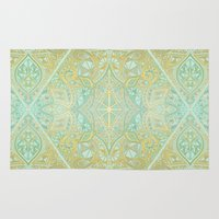 bedding Area & Throw Rugs featuring Mint & Gold Effect Diamond Doodle Pattern by micklyn