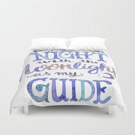 Watercolor Moonlight Lettering Duvet Cover