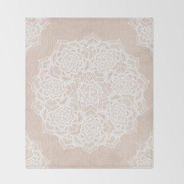 Modern boho Love Mandala pattern - Terracotta cream Throw Blanket