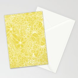 Modern trendy white floral lace hand drawn pattern on meadowlark yellow Stationery Cards